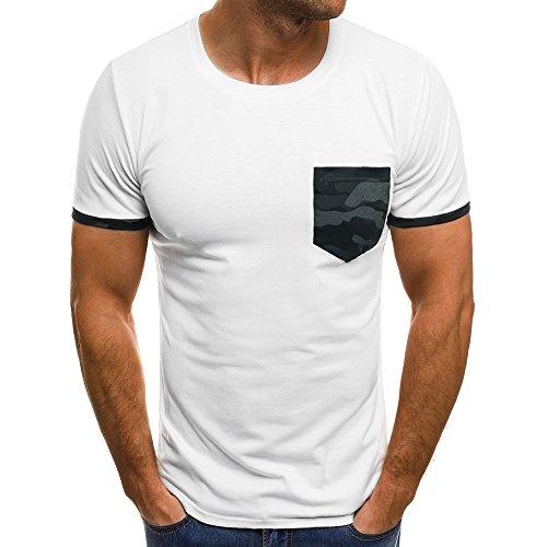 (iLPM5 Hemd Herren SommermodeKurzarm-T-Shirt für Herren Casual Slim Fit O-Neck T-Shirts mit Tasche (Weiß, CN-XL/EU-M))
