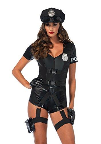 (LEG AVENUE 85555 - Kostüm Set Five-0 cop, L, schwarz)
