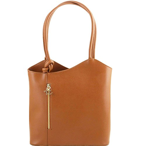 Tuscany Leather - Patty - Sac en cuir Saffiano convertible en sac à dos - Cognac