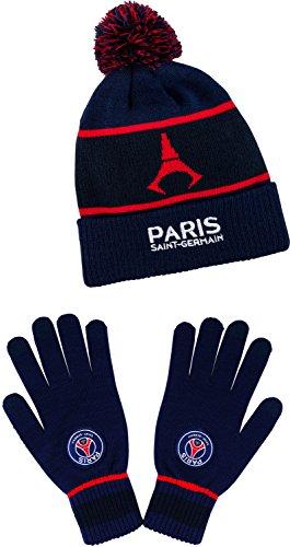 b3655faaf67 Gants + bonnet pompon PSG – Collection officielle Paris Saint Germain – Taille  enfant