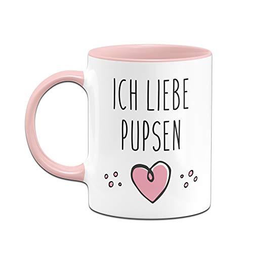 Tassenbrennerei Tasse mit Spruch Ich Liebe Pupsen, furzen Bürotasse Geschenk für Arbeitskollegen, Kollegin, Freundin Tassen mit Sprüchen lustig (Rosa) - 2