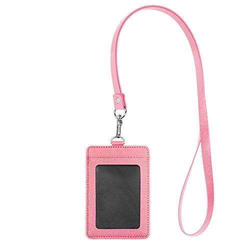 Gogo beidseitigen Leder Kartenhalter mit Lanyard, 2Kartenfächern für ID-Karte Kreditkarte 8 Packs vertical pink