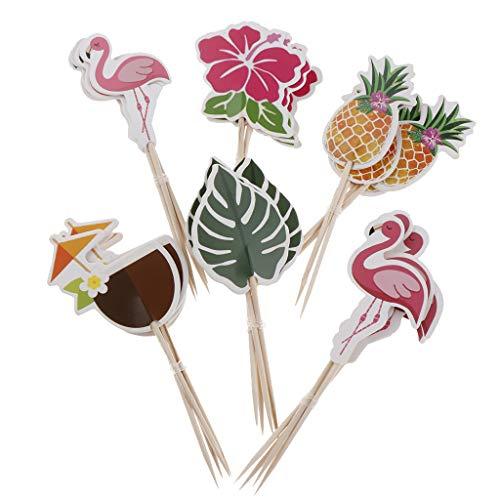 F Fityle 24er-Set Papier Picks Topper Aufsatz Stecker Zahnstocher mit Hawaii Stil Design für Kuchen Torten Cupcake Muffin und Obst