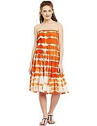 c52893a9d3a Ruhaan s Women s Cotton Orange White Color Tye die Printed Knee Length Tube  Dress (RU 5272)