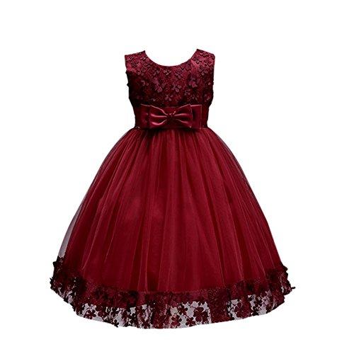 Brightup Sommer Kleider Mdchen Kleid Frhlings Kleid Partei Spitze Kleid, Burgund, 4 Jahre