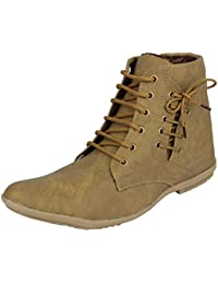 Senator Men's Brown Synthetic leather High Top Shoes - 9 UK