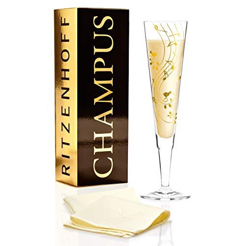 RITZENHOFF Champus Champagnerglas von Sibylle Mayer, aus Kristallglas, 200 ml, mit edlen Goldanteilen, inkl. Stoffserviette