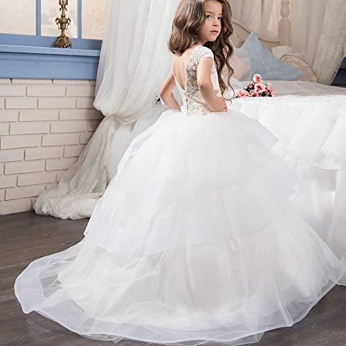 YuFLangel Mädchen Party Kleider Kinder Hochzeit Kleid Mädchen Spitze Kurzarm Blütenblätter Spitze Flauschigen Rock Mädchen Hochzeit Kleid Blume Kinderkleidung Blumenmädchen Kleid (Größe : 8-9T)