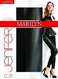 Marilyn must have der Saison, raffiniert geschnittende blickdichte Leggings mit kunstledereinsatz, 180 Denier, Größe 36/38 (S/M), Farbe Grau (grey & black)
