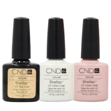 CND Shellac Kit per French Manicure, Top Coat, smalto, Gel, acrilico, colore: bianco e Rosa