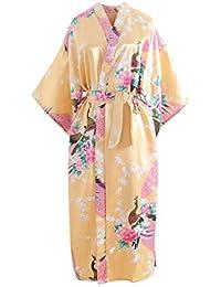 Mujeres Sexy Imprimir Blossom Kimono Flores Ropa de Dormir Bata de baño Ropa Interior Camisón Bata