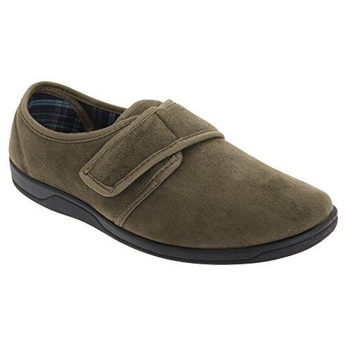 Sleepers Herren Tom Hausschuhe/Pantoffeln mit Klettverschluss, Wildleder-Imitat (41 EU) (Khaki) Urlaub Sleeper