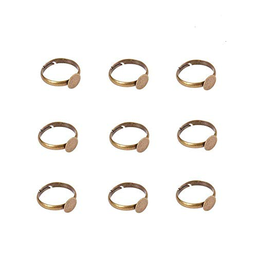 Ringschiene Messing verstellbare Ringrohling Ringfassung mit Platte f¨¹r Cabochons, Antik Bronze...