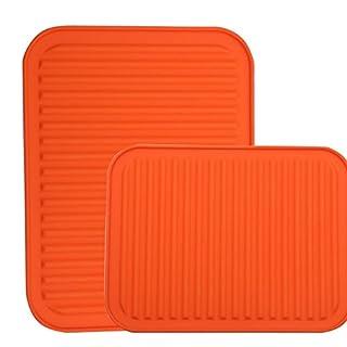 Topflappen, Topfuntersetzer, Silikon, wasserdicht, Wärmedämmung, rutschfest, Geschirr Pad Untersetzer–22,9x 30,5cm–2Set Orange