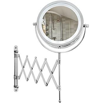 Aechoo Wall Mounted Mirrors Makeup Shaving Mirror Led