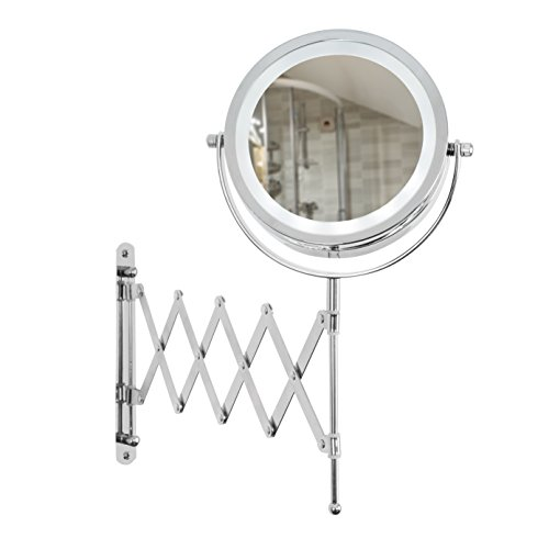 Battery Powered Bathroom Mirror Light: Adjustable And Extendable Round Chrome Battery Operated