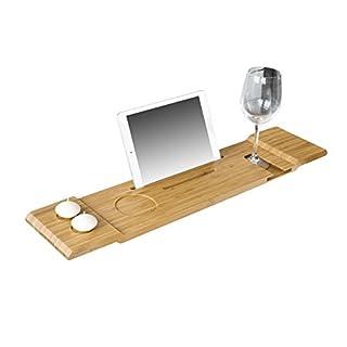 SoBuy® FRG104-N 70cm Lang- Schöne Badewannenablage, Badewannenbrett, Badewannenauflage, Halterung / Halter für iPad oder Handys
