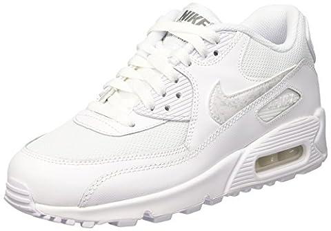 Nike Air Max 90 Mesh (Gs), baskets garçon, Blanc (Blanc/Blanc-Cool Grey), 38