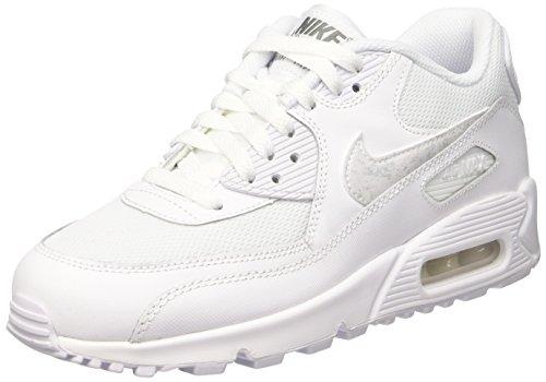 FR Meilleur Nike Air Max 90 Mesh (GS) Chaussures de running, Garçons, Blanc, 37 1/2