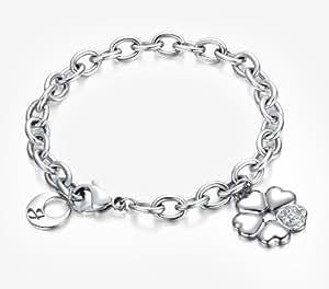 Armband in silber mit Blume aus 5 Herzen. Mit Kristallen. Luca Barra BK590