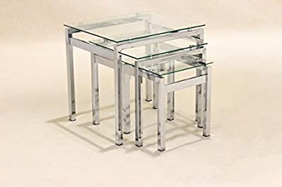 Glass Nest of Tables 3 Coffee Side Coffee Lamp Table Set Living Room Furniture - cheap UK coffee table shop.