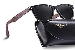 TSEBAN Sonnenbrille Damen Polarisierte Outdoor Fahren Brille mit UV400 Schutz, Acetat Rahmen (52mm / Rahmen: Holz; Linsen: Schwarz)