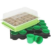 COM-FOUR® Plant Grooming Conjunto de macetas de semillas e invernadero de interior,