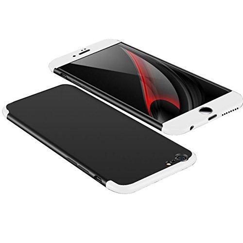 iPhone 6 6s Hülle,Wouier® 3 in 1 Ultra Dünner PC Harte Case 360 Grad Ganzkörper Schützend Anti-Kratzer Schutzhülle für Apple IPhone 6 plus/6s plus (iPhone 6 plus/ 6s plus, schwarz+blau) schwarz+Silber