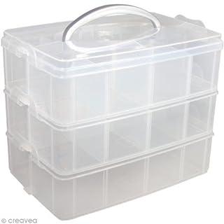 Rayher 39320000 Sortier-/Aufbewahrungsbox, mit Tragegriff, 3 Etagen mit insg. 17 Fächern, 23,1 x 15,6 x 18,5 cm, praktisch für verschiedene Kleinteile