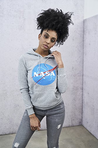 Mister Tee Ladies NASA Insignia Hoodie - Damen Streetwear Kapuzenpullover in den Farben Schwarz und Grau, Größe XS bis XL heather grey