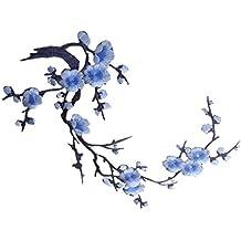 1pcs Apliques De Encaje Flor Del Ciruelo Del Bordado De Flor / Parche Motivos - Azul
