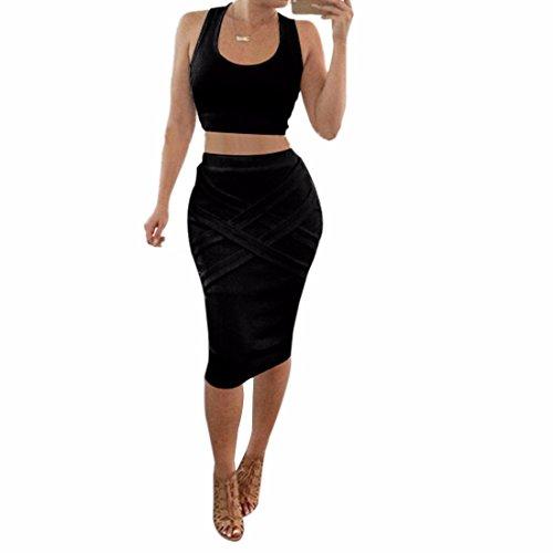 QIYUN.Z Les Femmes Sans Manches Mini-Debardeurs Gilets Jupes Midi Clubwear Sexy Deux-Pieces Exposees Noir