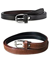 Style Along Women's Black and Brown Leather Belt, 34