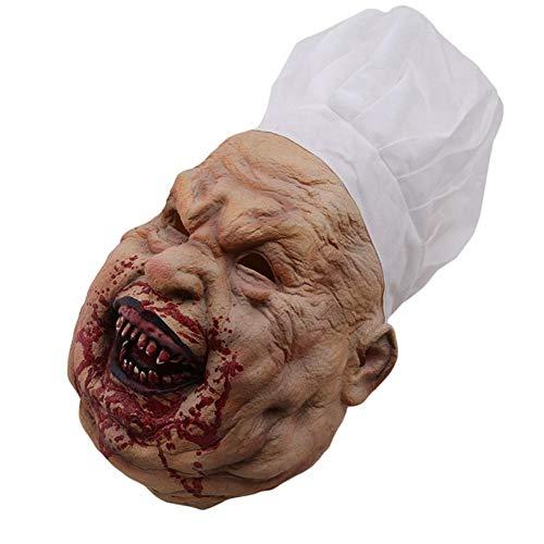 TOSSPER Creepy Scary Kostüm Maske für Erwachsene Partei Horror Prop Halloween Zubehör Halloween Cosplay Halloween-Maske (Brennen Gesicht AAS)