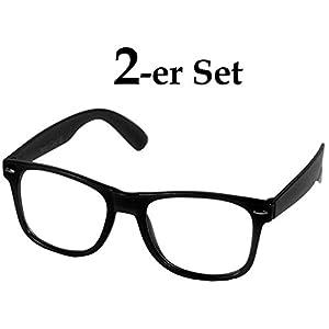Oramics Brille ohne Stärke für Herren und Damen, Hornbrille in Schwarz mit UV Schutz 400, Brille im Wayfarer Design mit klaren Gläsern