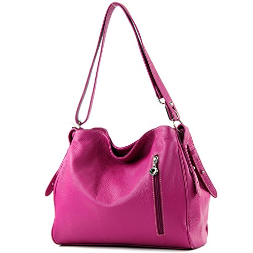 modamoda de - ital. Ledertasche Damentasche Umhängetasche Tasche Schultertasche Leder T119 Pink