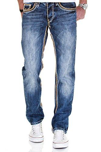 MERISH 5-Pocket Denim Jeans Herren Straight Fit Kontrastnaht Modell J9575 Blau-Orange