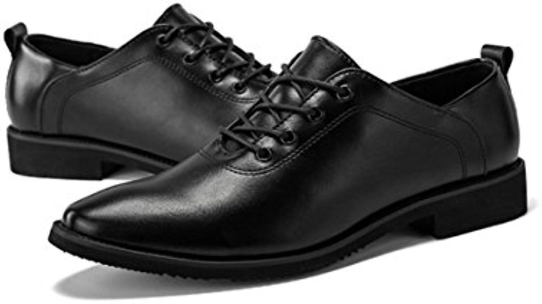 LYZGF Zapatos De Cuero De Cordones De Moda De Hombres Caballeros De Negocios Ocasionales,Black-41  -