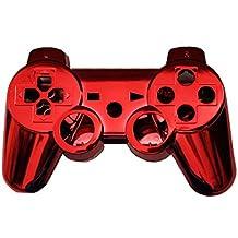 OSTENT Kit di pulsanti di alloggiamento della scatola di shell per controller completo compatibile per controller Sony PS3 Bluetooth - colore rosso