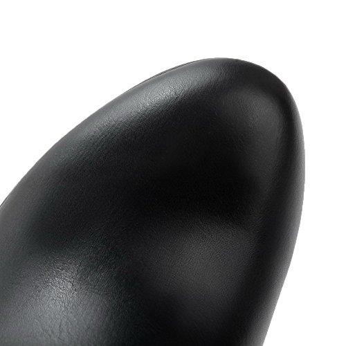 AllhqFashion Damen Reißverschluss Stiletto Wasserdicht Plattform Mitte-Spitze Stiefel Schwarz