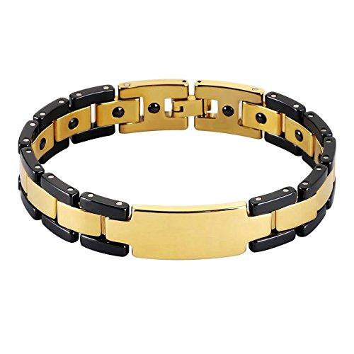Herren Armband Edelstahl Handgelenk Armreif Quadrat Schwarz Gold 21.2cm