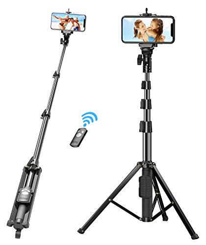 Bovon Perche Selfie, 133cm Extensible Trépied Smartphone Stable avec Télécommande Bluetooth Détachable pour iPhone 11 Pro Max/11 Pro/11/XS Max/XR/X/8 Plus, Samsung Note 10/S10e, Gopro, Caméra, etc