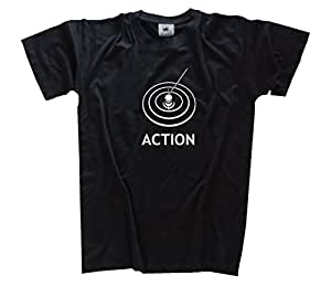 Action - Angeln Angler Angel Kids Shirt Kinder-Shirt Schwarz 104