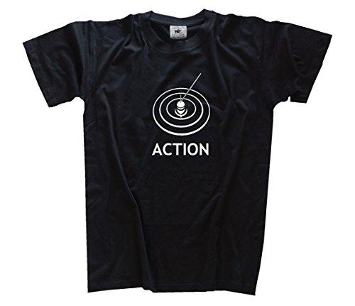 Action - Angeln Angler Angel Kids Shirt Kinder-Shirt Schwarz 164