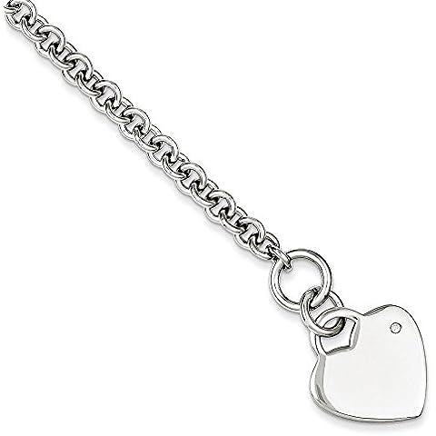 Argento Sterling .02Ct Diamante grezzo 0,02mm–Braccialetto Cuore Toggle–20centimetri - Diamante Toggle Bracelet