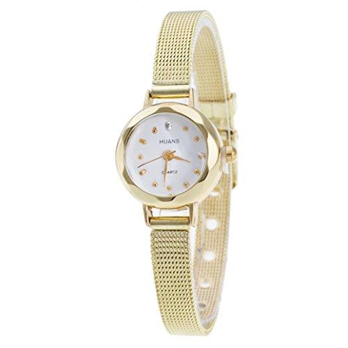 Frauen Edelstahl Mesh Band Armbanduhr, LSAltd Damen Uhr (Gold)