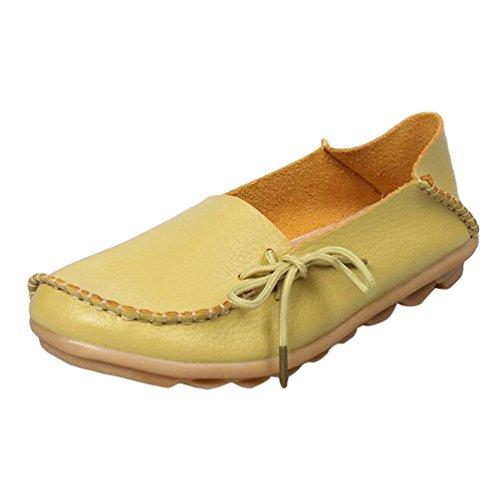 Heheja Damen Freizeit Flache Schuhe Low-top Mokassin Loafers Erbsenschuhe Apfel Grün