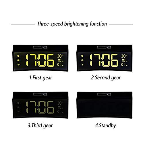 ksjdjok Wecker Wecker Floating Font Digitale Elektronische Uhr Clock USB Output Power Funktion Led Bedside Alarm 3D Curved Surface Screen
