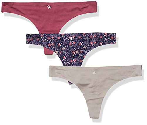 Jessica Simpson Damen Seemless No Show Thong Panties Underwear Multi-Pack Stringhöschen, Eclipse/Opal Grey/Violet, Groß -