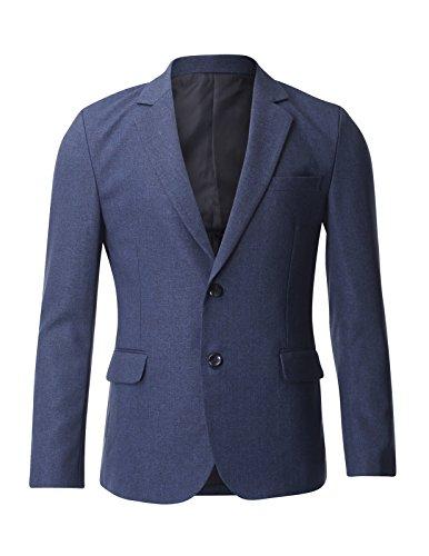 FLATSEVEN Deux Bouton Veste Blazer Droite Homme Bleu